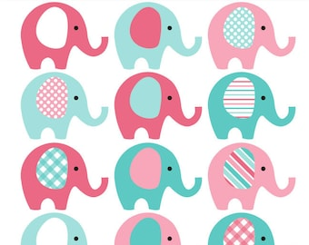 Pink and Teal Elephant Clip Art - INSTANT DOWNLOAD - Baby girl baby shower clipart elephants