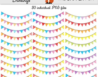 Rainbow Bunting Digital Clipart Clip Art - INSTANT DOWNLOAD - banner, garland - rainbow candy