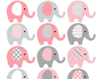 Pink and Grey Elephant Clip Art - INSTANT DOWNLOAD - Baby girl baby shower clipart elephants