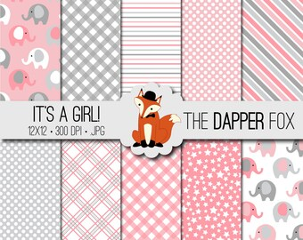Baby Girl Pink and Grey Digital Paper Pack - INSTANT DOWNLOAD - 12x12 - elephants, spots, stripes, gingham