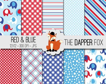 Red and Blue Elephant Digital Paper Pack - INSTANT DOWNLOAD - 12x12 - baby boy, baby shower, spots, stripes, gingham