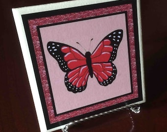 Red Monarch Butterfly Coaster