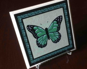 Green Monarch Butterfly Coaster (bluish green)