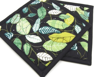 Hot Pads, Quilted Pot Holders - Green Leaves on Black Cotton Fabric 8 Inch Potholders - Set of 2 Hostess Gift, Housewarming Gift