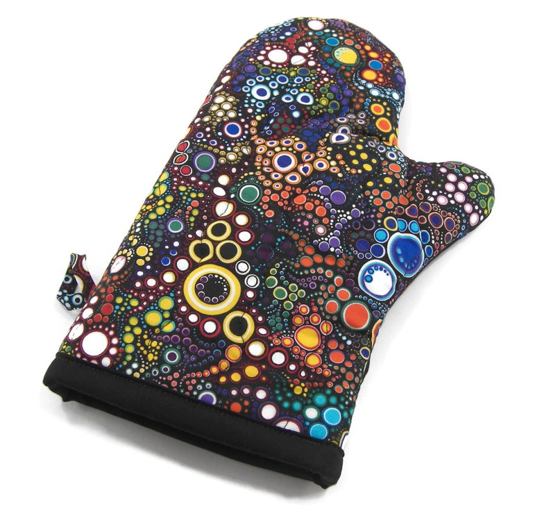 Bright Circles on Black Cotton Potholder Insulated Pot Holder Quilted Oven Glove Colorful Oven Mitt
