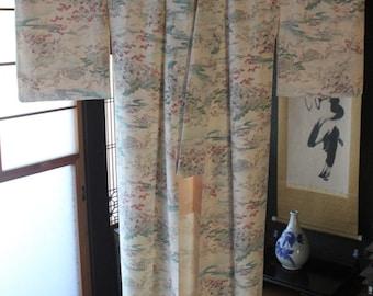 Vintage Japanese Kimono silk with scenes of Japan