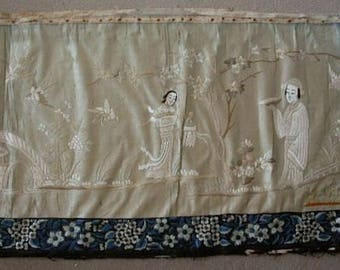 Large antique Chinese silk embroidered panel SALE  reduced from 800 dollars