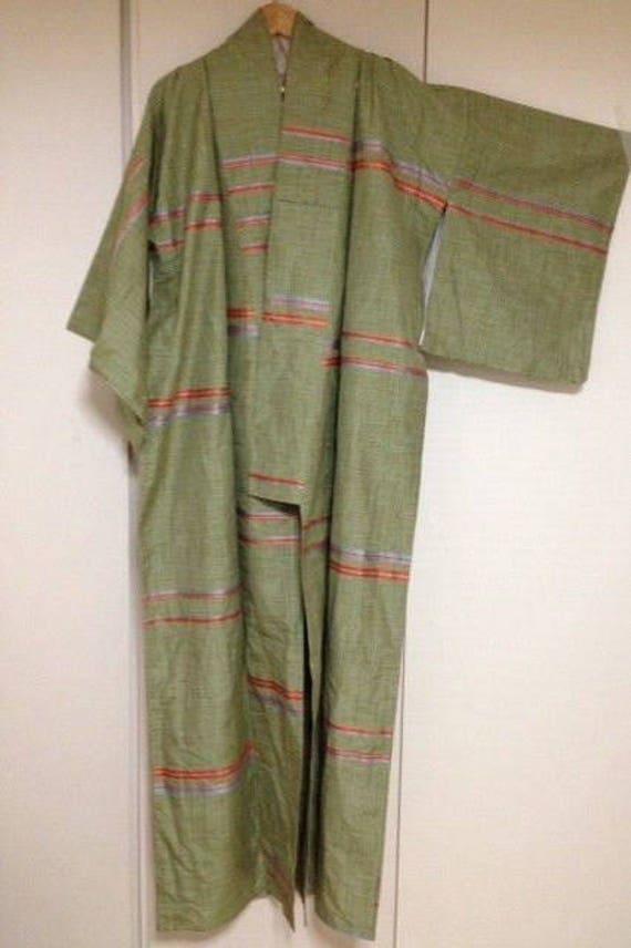 Antique Japanese Silk Kimono Pongee  Green with Or