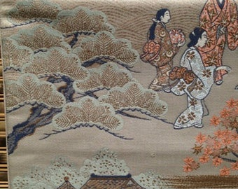 Gorgeous Scenes of old Japan embroidered on 170 inch silk obi