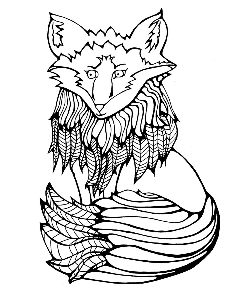 Native Fox Coloring book page/downloadable