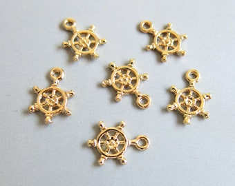 16mmx20mm HSH-00149 Pendant 6pcs 18k Shiny Gold Plated Brass Round Ring Charms Jewelry