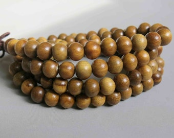 108pcs Natural Sandalwood Beads Prayer Beads Japa Mala 5mm - A462