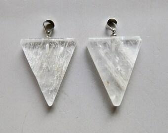 Polished Quartz Crystal Triangle Pendant - B1201