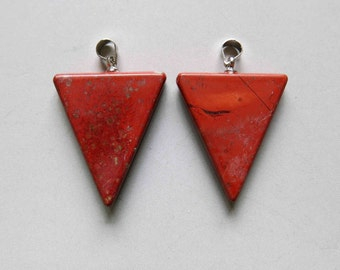 Polished Red River Jasper Triangle Pendant - B1213