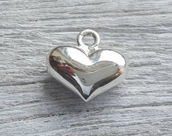 2 X LOVE YOU HEART CHARM Double Sided antique silver tone Valentines Gift