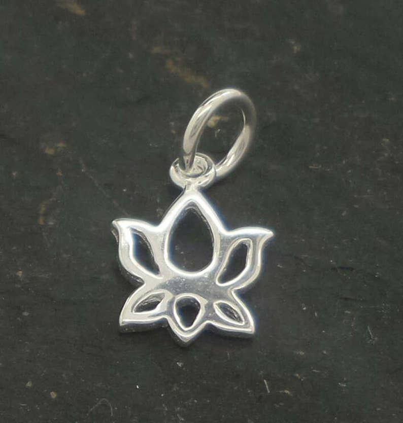 small LOTUS sterling silver pendant solid silver lotus flower pendant silver waterlily charm