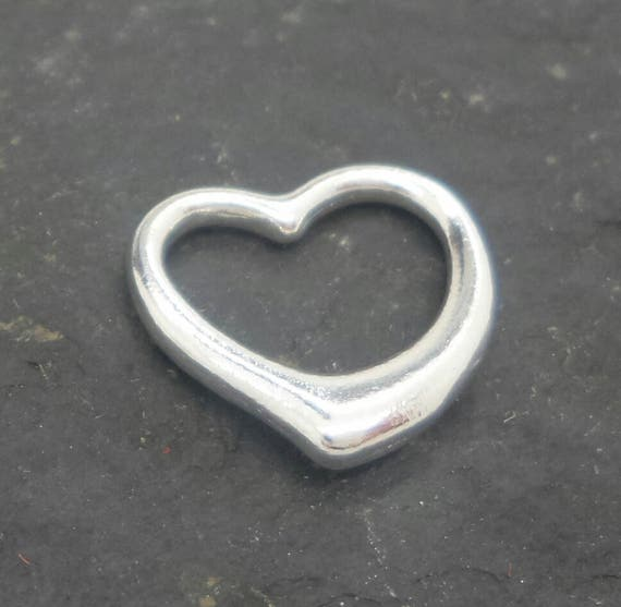 Solid 925 Sterling Silver Heart Flower Outline Charm Bead