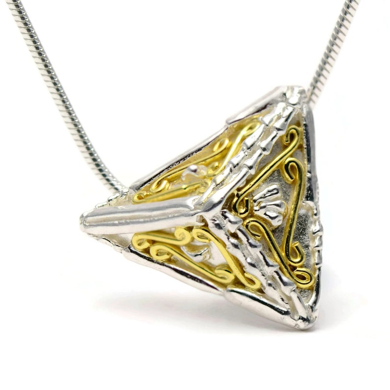 Triangle Necklace Rustic Handmade Pendant Pyramid Pendant Geometric Silver Necklace with 18ct Gold Layering Necklace
