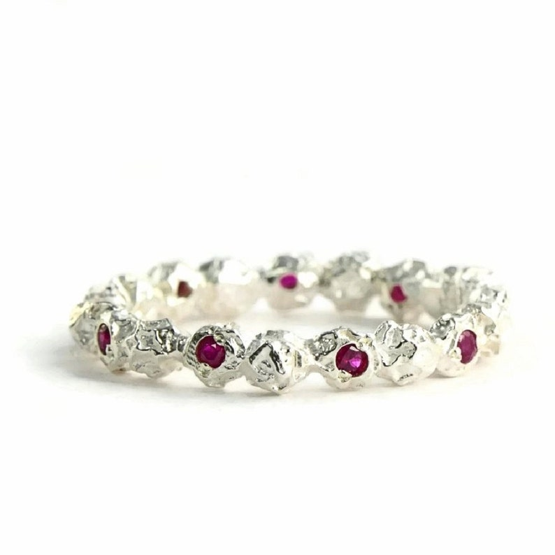 Silver Eternity Ring Custom Gemstone Ring Sterling Silver Ruby Stacking Ring Organic Promise Band Handmade In Yorkshire Uk