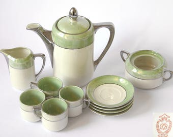 Beyer and Bock Germany 11 Piece Coffee Set, Coffee Pot, Creamer, Sugar, 4 Demitasse Espresso, Cappuccino Cups and Saucers, Circa 1940's-1960