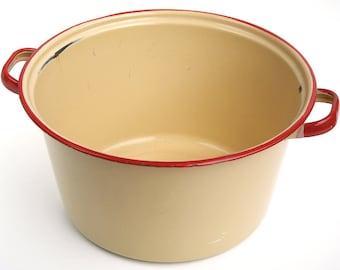 "Large Beige Enamelware Cooking Pot with Red Rim, 12"" D x 6.5"" H, 1930s-1940s, Old Beige Soup Stock Pot, Rustic Farmhouse Kitchen Decor"
