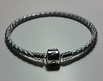 95e03dc70 SILVER colour Braided leather PANDORA bracelet you choose size