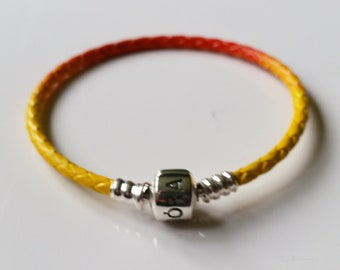 165972195 Pandora Sunshine custom braided leather sterling silver bracelet