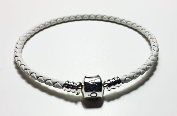 2094371d7 WHITE colour Braided leather PANDORA bracelet you choose size   Etsy