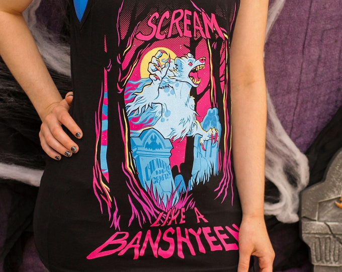 "Featured listing image: Black ""Scream like a Banshyeen"" Tank Top"