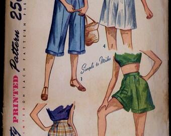 Part Cut 1940s Waist 24 Pedal Pushers Shorts Simplicity 2853 Vintage Sewing Pattern 40s Pants Bermudas
