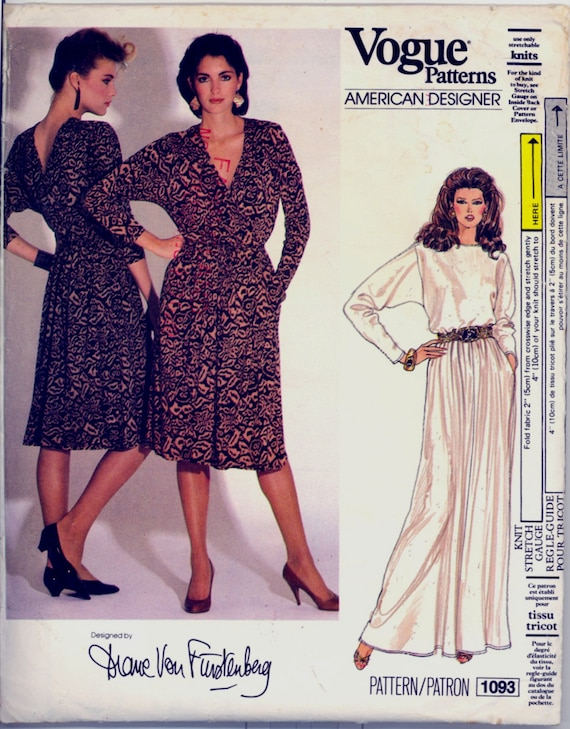 1970s Size 10 Bust 32 Diane Von Furstenberg Wrap Dress Vogue 1093 Evening DVF Vintage Sewing Pattern 70s