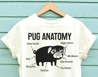 The Pug Anatomy Pug Tshirt Is Here! Based On The Latest Scientific Research Very Soft And Available In Three Colours. The Perfect Pug Shirt