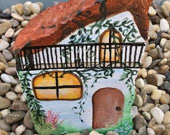 "Hand Painted Fairy Garden House ~  Painted Garden/Landscape Rock ~ 5""W x 7.5""H x 2""D"