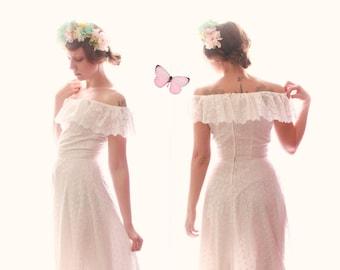White boho wedding dress, Cotton eyelet gown, Off the shoulder maxi bridal gown, White lace vintage dress, Long white vintage dress - S