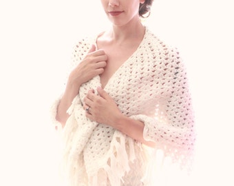 Vintage crochet shawl, Bridal coverup, White fringed knit shawl, Boho wedding cape, Winter wedding wrap