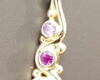 14k Gold Pink Tourmaline, Pink Sapphire, and Natural Pink Spinel Pendant Necklace