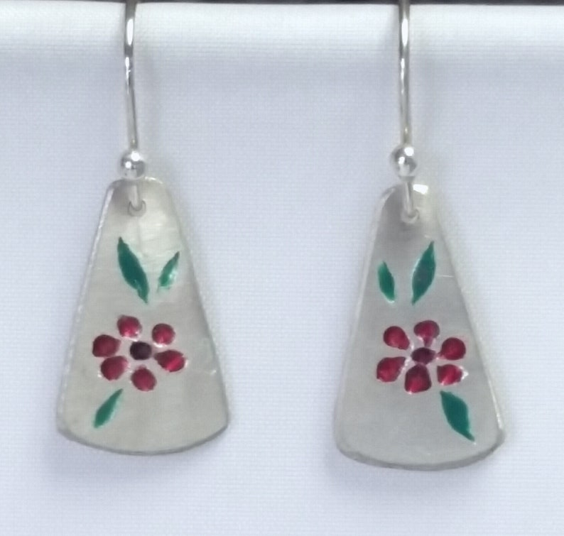 Handcrafted by Master Juried Jeweler Stephanie Long USA Handcarved and Handpainted Silver Dangle Earrings Carved Flower Enamel Earrings