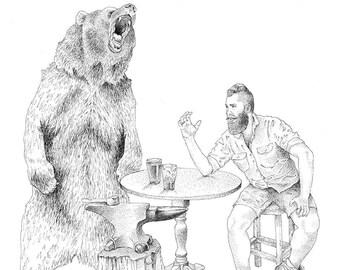 Bear and Blacksmith limited edition print