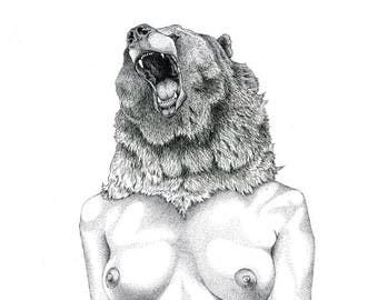 Bear Goddess Illustration Limited Edition Print