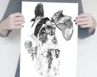 Nemetona- Lost Goddess series. Limited First Edition Print from an original fine line ink drawing