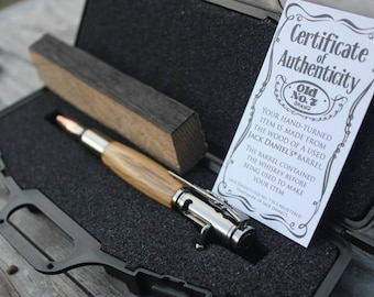 Jack Daniels Bolt Action Bullet Pen Whiskey Barrel 30 Caliber Bolt Action Bullet Pen Rifle Case Box Stave Cutting Whiskey Stones Certificate