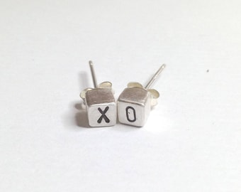 Cute Initial Earring Stud Silver Cube Personalized Gift Love XOXO Date Gift For Her Anniversary Friendship Monogram custom by IONA SILVER