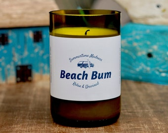 Candle/ Scented Candle/ Soy Candle/ Wine Bottle Candle/ Gift Candle/Beach Candle/Home Decor/Beach Bum