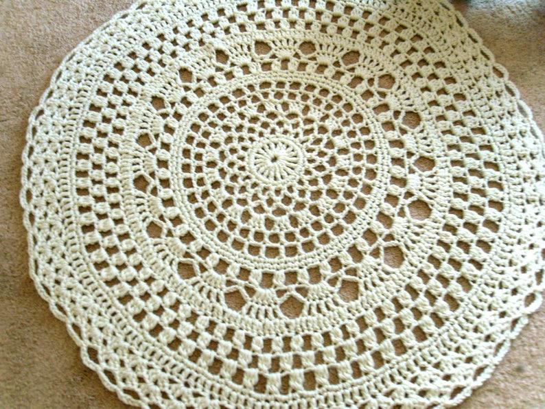 Ecruoff White Giant Crochet Doily Rug Mandala Rug Crochet Etsy