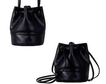 Saq bag black bucket bag crossbody shoulder pouch sac purse drawstring vegan eco faux leather two pockets with zipper simple everyday city