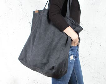 86a4eafc66 Big Lazy bag black shoulder dark tote zipped up pockets oversized extra  large beach bag market everyday handbag vegan organic eco cotton