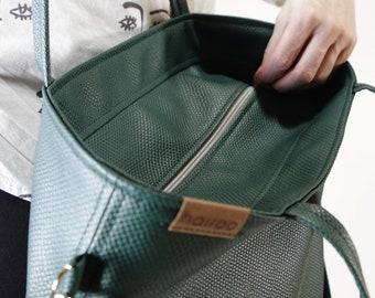 Dark green bag - carry on bag, computer bag | Vegan shoulder bag - tote with pockets