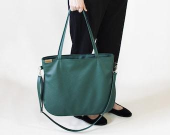 Green bag - work tote bag - Vegan leather bag | Green crossbody tote