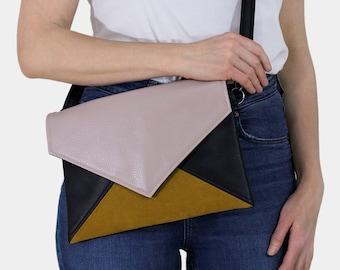 Clutch bag envelope black pink yellow vegan leather bag faux leather suede purse handbag strap pocket zipped wedding bridesmaid evening gift