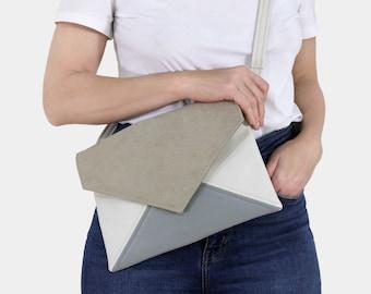 Clutch bag envelope beige gray ivory vegan leather bag faux leather suede purse handbag strap pocket zipped wedding bridesmaid evening gift